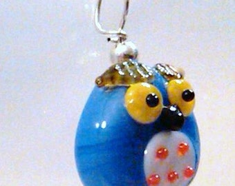 CLOSEOUT Sterling silver wired lampwork another blue owl pendant charm on a sp chain