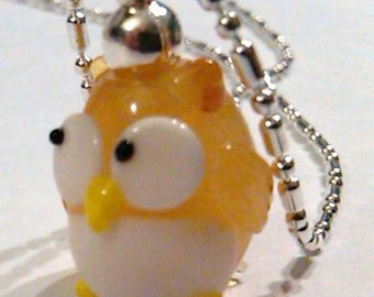 CLOSEOUT light golden brown glass lampwork owl pendant on a sp dot and dash chain