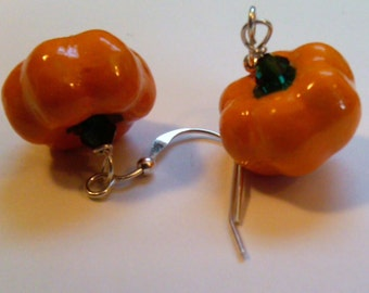 Plump Orange Pumpkin Earrings