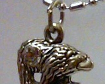 sterling silver bear  pendant charm on a sp chain