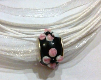 CLOSEOUT Glass Lampwork Black and Pink bead on White Ribbon Necklace Cord