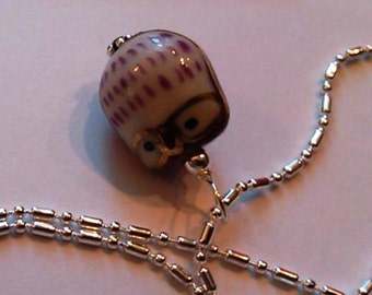 1 SS wired purple cutesy Porcelain Owl pendant on a SP dot dash chain