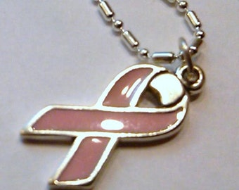 Sterling Silver Pink Ribbon pendant on a S/P chain