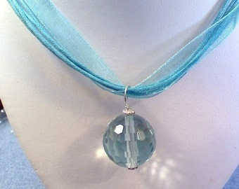 CLOSEOUT Gorgeous large sterling silver turquoise faceted quartz 18 inch necklace