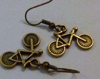 1 pair of Antique Brass Bike Earrings