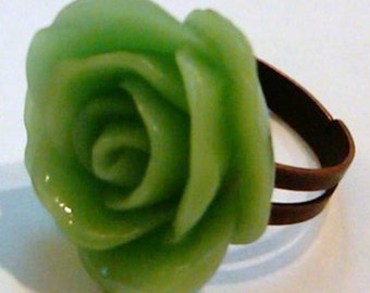 Closeout - Antique Red Copper Adjustable Ring with a Green Rose Cabochon