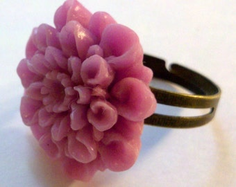 Closeout - Antique Red Copper Adjustable Ring with a Pink Flower Cabochon