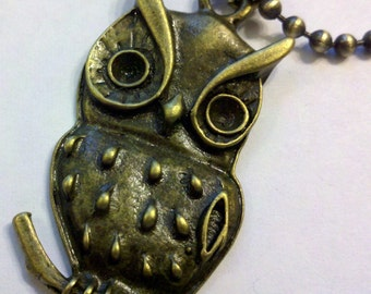 Antique Brass Owl Pendant on an 24 inch 2.5mm Ball Chain