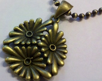 Antique Brass Flower Pendant on an 24 inch 2.5mm Ball Chain