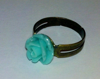 Closeout - Adjustable Antique Brass Finished Ring with Turquoise Small Rose Cabochon