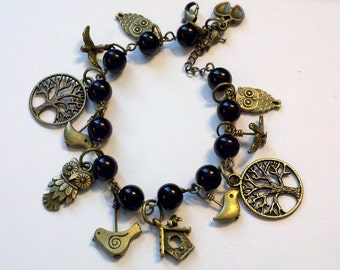 Closeout - Antiqued Brass Bird Bracelet with Black Beads