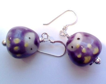 SS sweet purple porcelain earrings