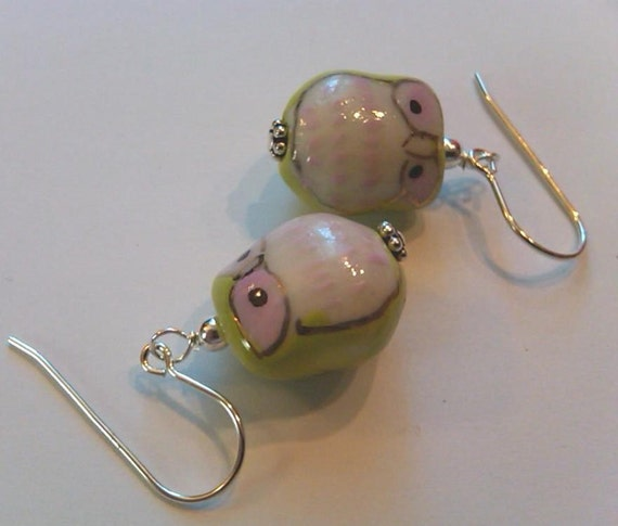1 pair Sterling Silver Green and Pink Cutesy porcelain owl earrings.