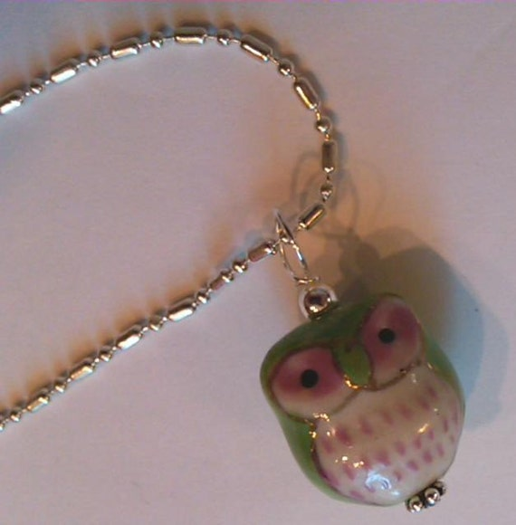 1 SS wired New Green Cutesy Porcelain Owl pendant on a SP dot dash chain
