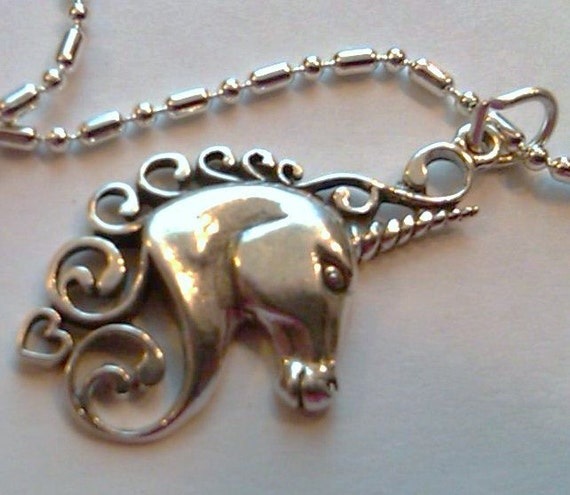 Sterling silver unicorn pendant charm on a sp necklace by