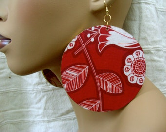 Floral 4 inch Round Earring