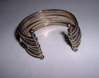 Vintage Silvertone Bangle Cuff Bracelet Unique
