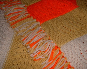 Vintage Hand crochet Afgan from 1970 Orange White Tan 40 x 60 Sale Reduced price