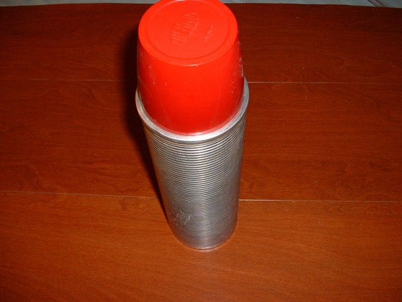 Vintage Thermos Grand Vaccuum Bottle 2484 Made in USA Red Lid