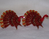 Small Bead and Safety Pin Turkey - Set of Two