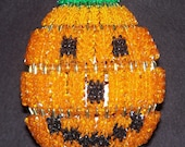 Bead and Safety Pin Lighted Jack-O-Lantern