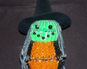 Bead and Safety Pin Lighted Witch