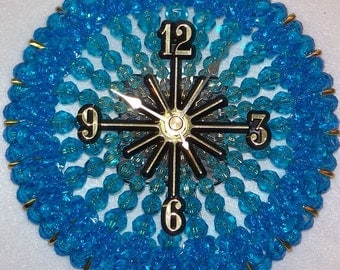 Turquoise Beaded Clock