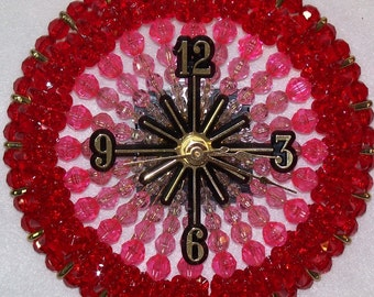 Shades of Red Bead and Safety Pin Clock