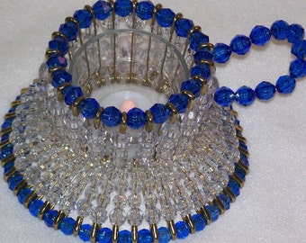Blue Teacup Bead and Safety Pin Votive Candle Holder