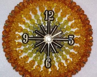 Shades of Yellow Safety Pin and Bead Clock