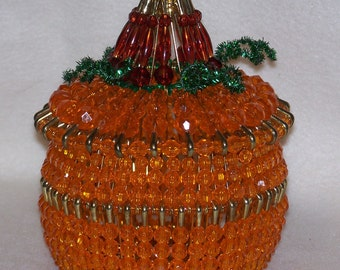 Bead and Safety Pin Pumpkin Candy Bowl