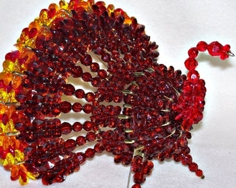 Large Bead and Safety Pin Turkey