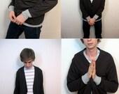 Black Gray Mens Handmade Cardigan S\/M