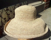 Extra Wide Brim Natural Crocheted Raffia Straw Crushable Sun Hat