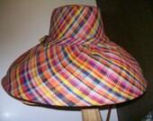 Rainbow Plaid Linen Straw Sun Umbrella