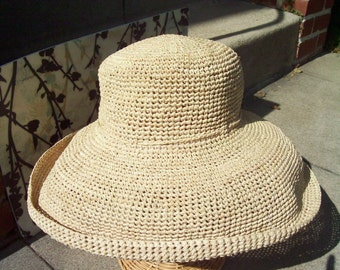Wide Brim Natural Crocheted Raffia Straw Crushable Sun Hat