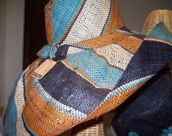 Turquoise, Brown & Black Wide Stripe Linen Wide Brimmed  Straw Hat