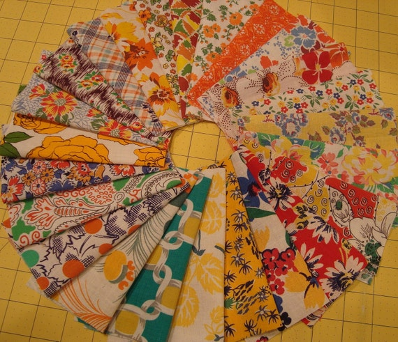 SpEcial 24 Yellow Orange  Vintage Feedsack Fabric Sampler Bundle  for Quilts or Crafts