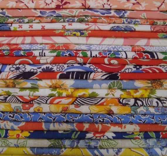 20 Assorted   Vintage Feedsack Fabric Sampler Bundle  for Quilts or Crafts 8 by 6 Color Coordinated