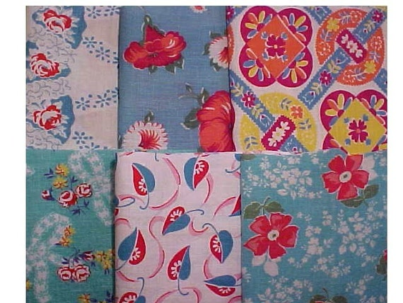 Red Aqua Vintage Feedsack Flour Sack Quilt Fabrics Quilt