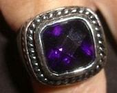 Estate Dark Purple Quartz Ring Sterling Silver Ring