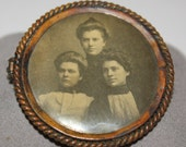 ANTIQUE Victorian Family Portrait Metal Pin Brooch