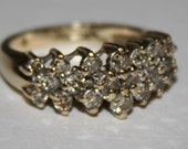 Vintage Diamond Ring  10K Yellow Gold Ring Champagne Colored Diamonds