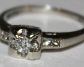 Antique Diamond Ring  Old Cut Diamond Ring 10k white Gold