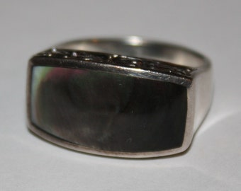 Vintage Ring  Sterling Silver Abalone Ring size 7.25