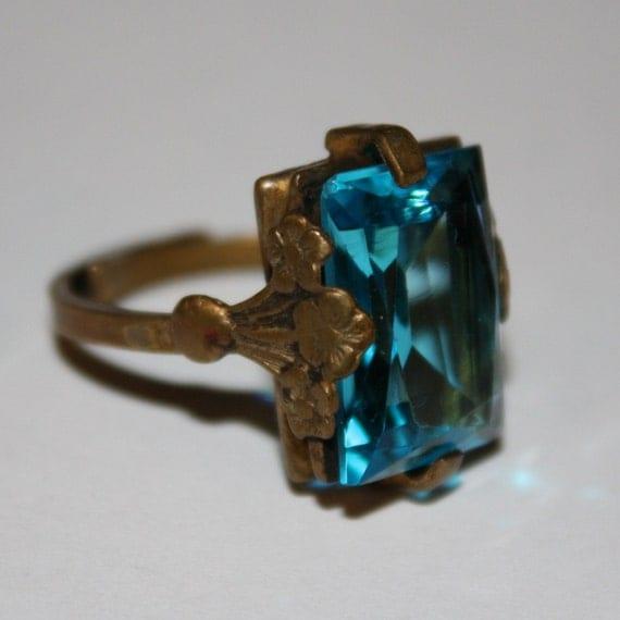 ANTIQUE Edwardian Victorian Blue Zircon Glass Brass Ring
