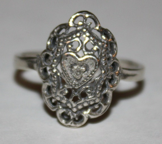 Vintage Diamond Ring Sterling Heart Filigree Ring Size 5