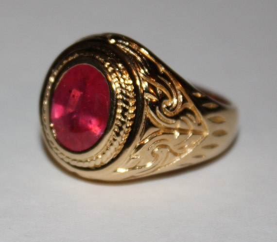 Estate Ruby Ring 14k Gold Sterling Ring Mens By