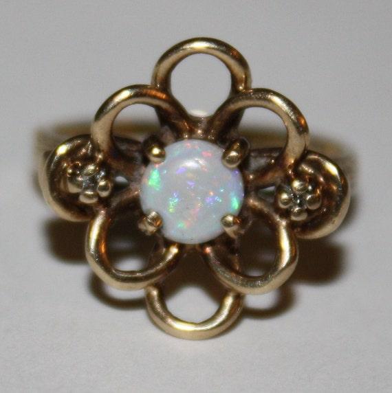 10 000 Up Diamond: Vintage/Antique Opal & Diamond Ring 10K By Fairytaletreasures