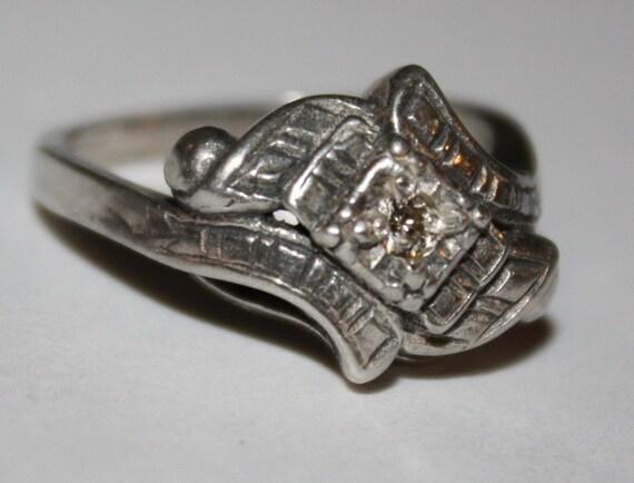 RESERVED for KIM Estate Diamond Ring 14K White Gold Filigree Ring